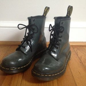 Dr. Martens lace up boots. Gray green. Size 5